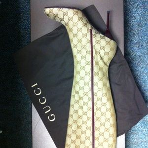 Gucci monogram knee high boots